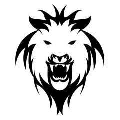 Vector illustration of lion face black and white tattoo