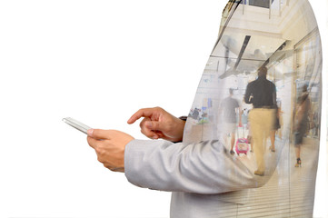 Double Exposure image of Businessman use Digital Tablet and Peop