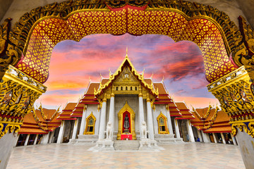 Wall Murals Place of worship Marble Temple of Bangkok, Thailand.
