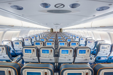 center back view of airplane interior