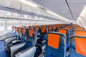 front view of the airplane interior