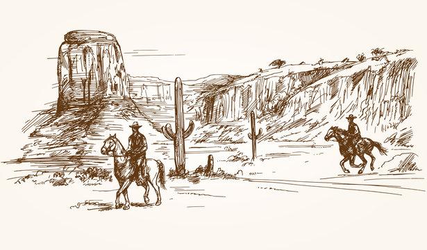 American wild west desert with cowboys - hand drawn illustration