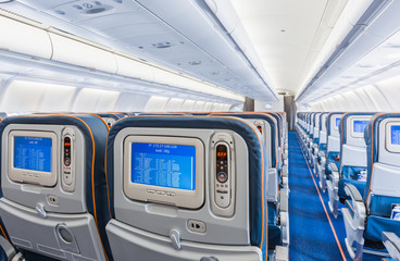 back view of airplane interior