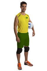 Professional Brazilian Volleyball player with ball.