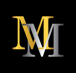 MM initial letter with gold and silver