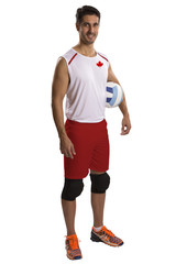 Professional Canadian Volleyball player with ball.