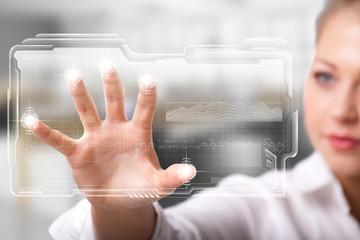 businesswoman unlocking an interface via fingerprints