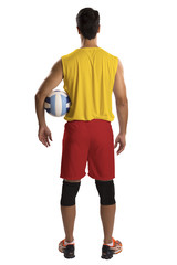 Professional Spanish basketball player with ball.