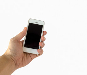 Male Hand Holding White Smartphone with Blank Black Screen on White Background