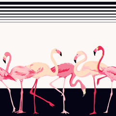 Flamingo Bird Background - Retro Seamless Pattern - in vector