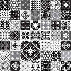 Huge Seamless Patchwork Pattern - Monochrome Tiles Set