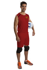 Professional Russian Volleyball player with ball.