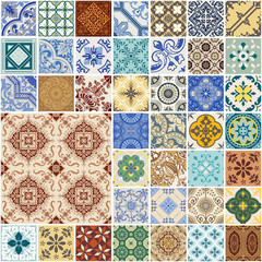 Colorful Seamless Patchwork Pattern - Spain and Moroccan Tiles Set