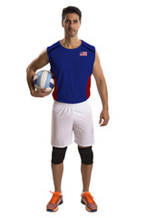 Professional American Volleyball player with ball.