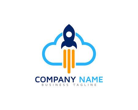 Cloud Rocket Logo Design Template