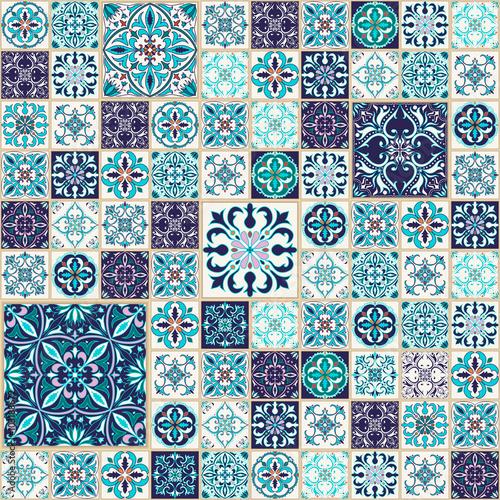 Vector seamless texture beautiful patchwork pattern for - Papier peint mosaique ...