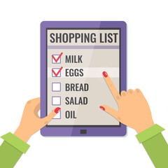 Shopping list. Application for shopping on tablet compute. Icon in flat style, vector illustration.