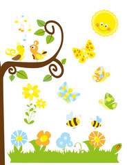 Set of cute cartoon nature elements  : spring / summer collection for children with sun, flowers , tree, birds, flying bees, butterflies