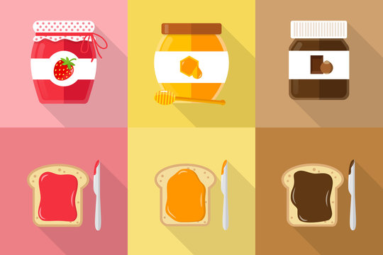 glasses of spread jam chocolate honey with toast and knife flat vector icons with shadow