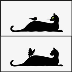 Stylized silhouette of black cats
