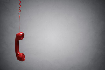 Red telephone receiver background