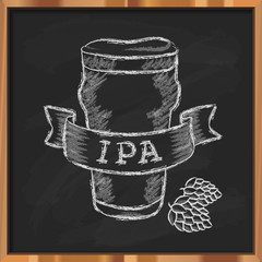Hand drawn craft beer label. Vector glass of india pale ale (IPA) and hops on a black chalkboard background.