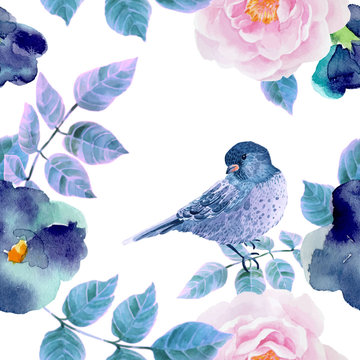 Watercolor seamless pattern with flowers and  birds.