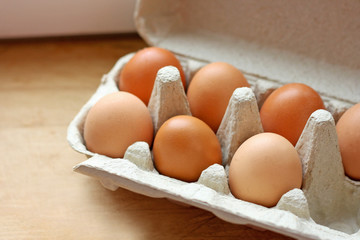 Eggs in a carton.