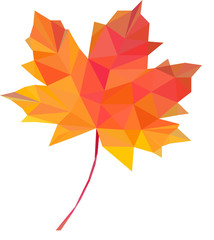 low-poly polygon autumn leaves