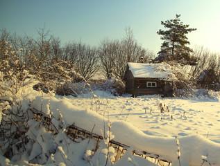 маленький домик зимой в снежном саду