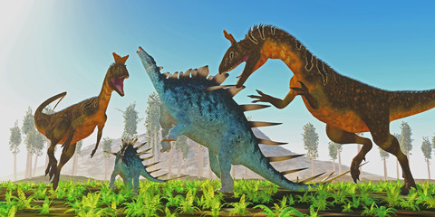 Cryolophosaurus attacks Kentrosaurus - A Kentrosaurus female rears up to defend her offspring from two carnivorous Cryolophosaurus dinosaurs.
