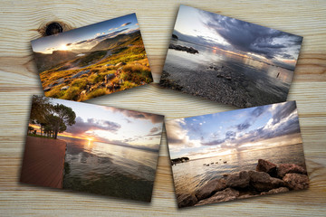 collage of photos of landscapes at sunset on wooden table - the photos are in my personal gallery