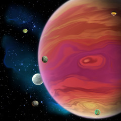 Jupiter Planet - Jupiter is the largest gas giant planet in our solar system with 67 moons and has a large red spot vortex below the equator.