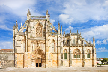 The facade of Batalha cathedral in Portugal (Europe)