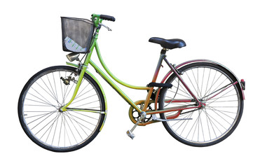 Old colored bicycle with basket on white background