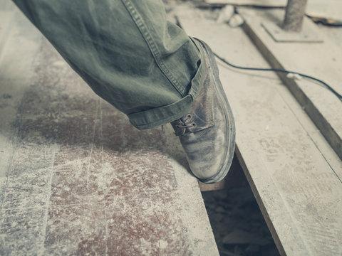 Trip hazard on building site