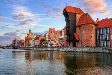 The Crane and gothic old town on sunset, Gdansk, Poland Wall mural