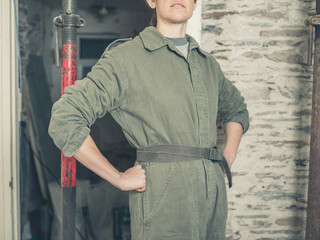 Woman in boiler suit