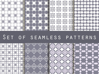 Geometric seamless pattern. Set. For wallpaper, bed linen, tiles, fabrics, backgrounds. Vector illustration.