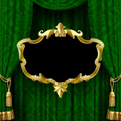Green curtain with a gold decorative baroque frame