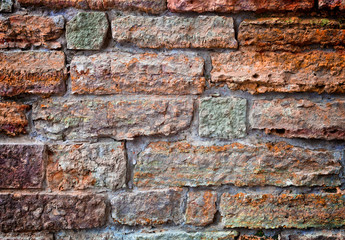 Old brick wall. Apply color and lighting effects. Colorful picture. Deep, rich,  bright colors.  Vignetting. Art reception.
