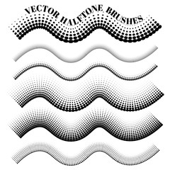 Collection of vector halftone pattern  brushes