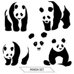 Set of Panda silhouettes