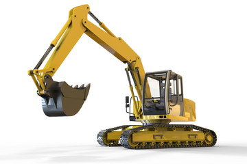 Construction Industry Excavator Objects and isolated on a white backround