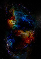 Nebula, Cosmic space and stars, blue cosmic abstract background. Elements of this image furnished by NASA.