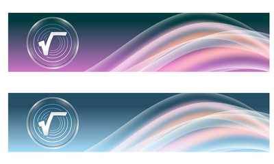 Set of two banners with colored rainbow and radix symbol