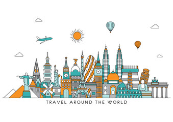 Travel and tourism background. Vector background. line illustration. Line art style