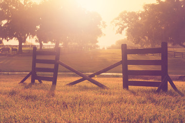Romantic nostalgic dreamy horse equine cross rail jump obstacle hurdle in a field for practice training at sunset sunrise with vintage retro aged filter and sun flare