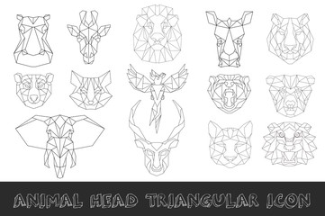 Front view of animal head triangular icon set, geometric trendy line design. Vector illustration for tattoo or coloring book.Africa collection