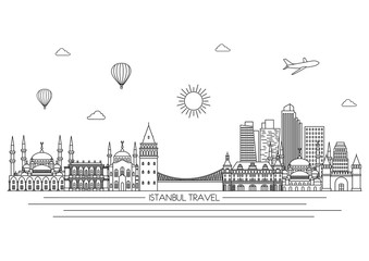 Istanbul detailed Skyline. Travel and tourism background. Vector background. line illustration. Line art style